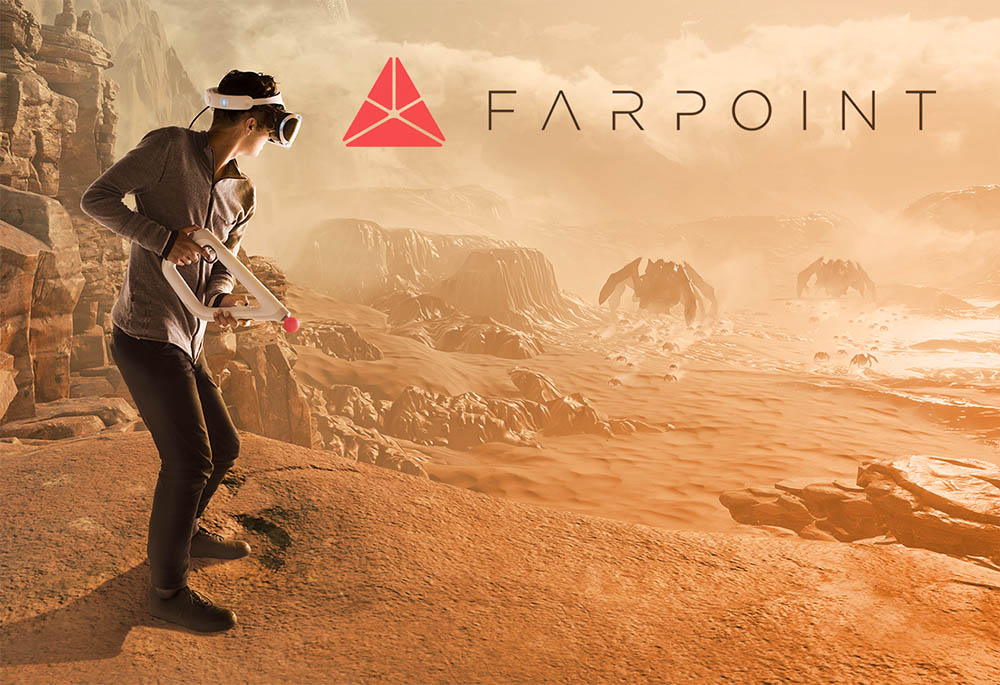 Farpoint promo image of game player shooting on mars like landscape